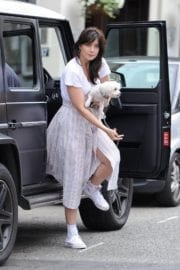 Daisy Lowe at Out For a Walk With Her Dog in Primrose Hill in London