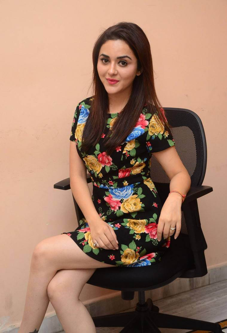 Actress Ragini Nandwani in Black Floral Dress