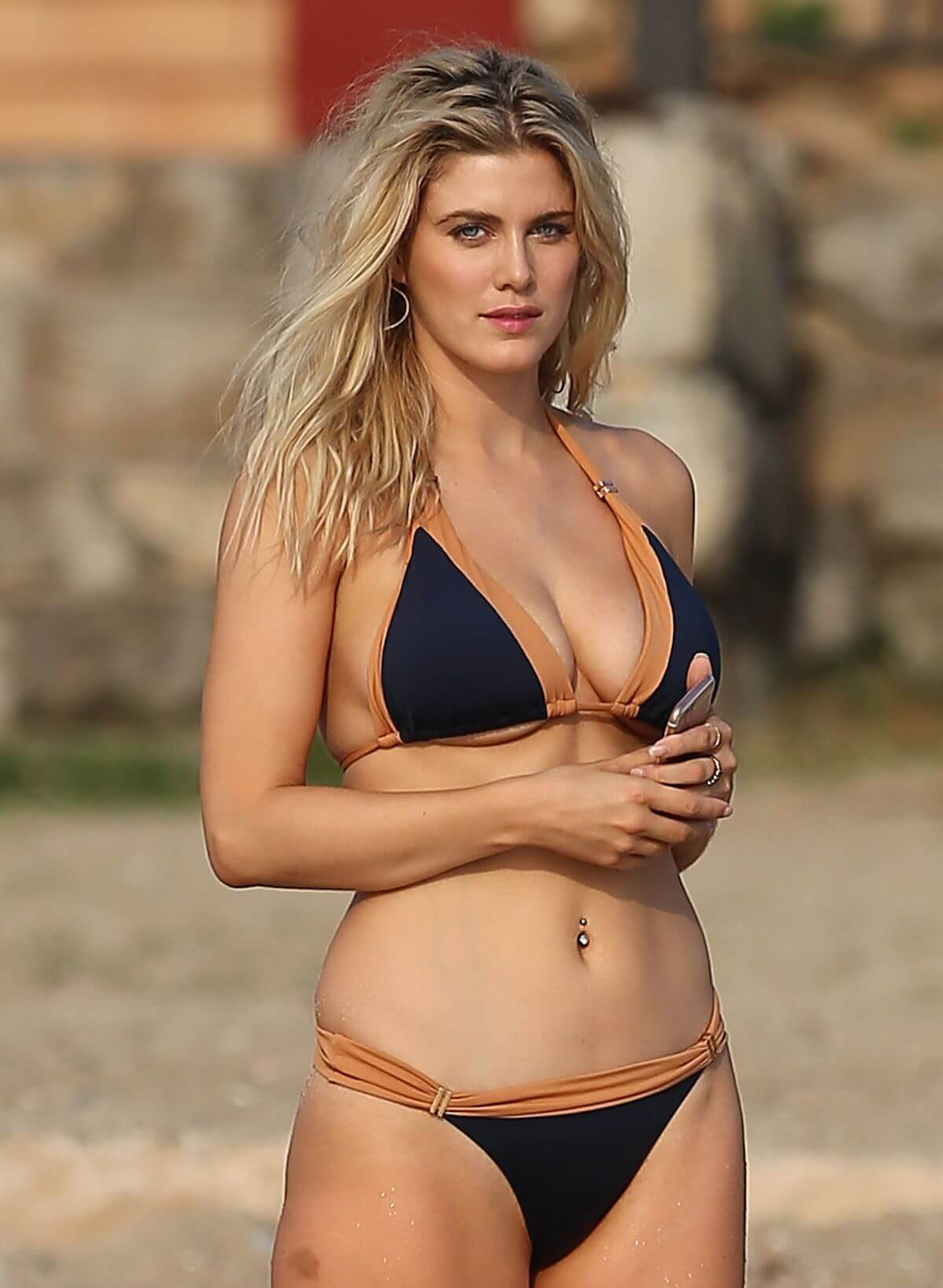 Ashley James Hot in Bikini at a Beach in Ibiza Photos