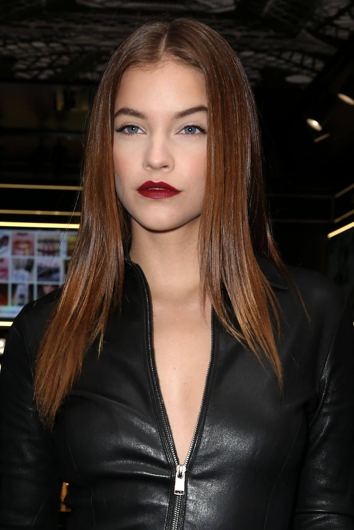 Barbara Palvin Stills Leather at New L'Oreal Store Opening in Paris