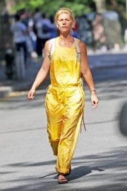 Claire Danes in Yellow Jumpsuit Out in New York - 14/09/2016
