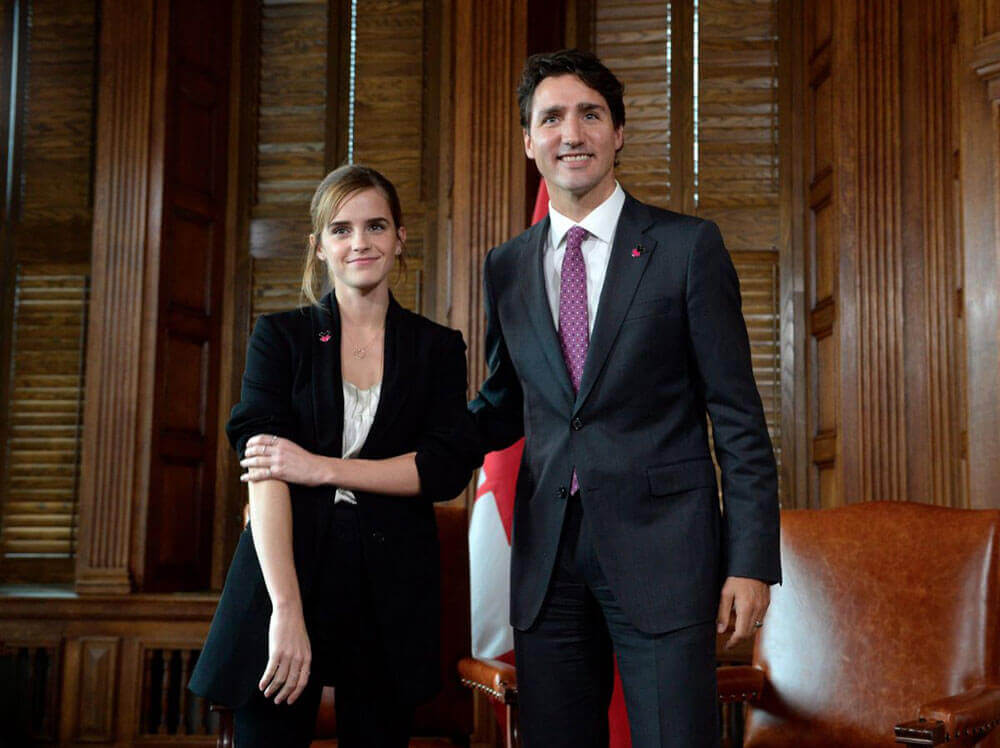 Emma Watson Stills Meeting Prime Minister of Canada Justin Trudeau for her 'He For She' campaign in Ottawa