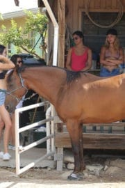 Kendall Jenner at Horseback Riding at a Beach in Turks - 15/09/2016