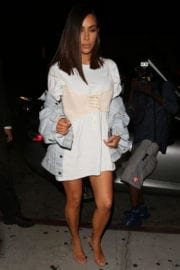 Kim Kardashian arrives at Kylie's Birthday Party at Nice Guy in Los Angeles