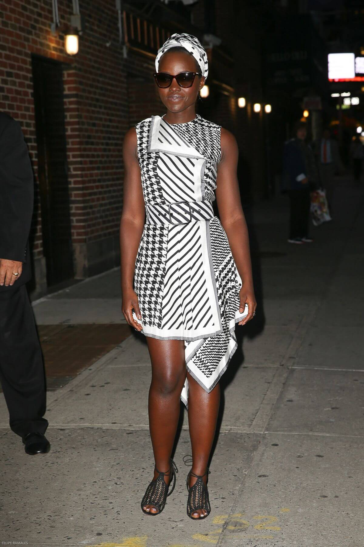 Lupita Nyong'o Stills Arrives at Late Show with Stephen Colbert in New York