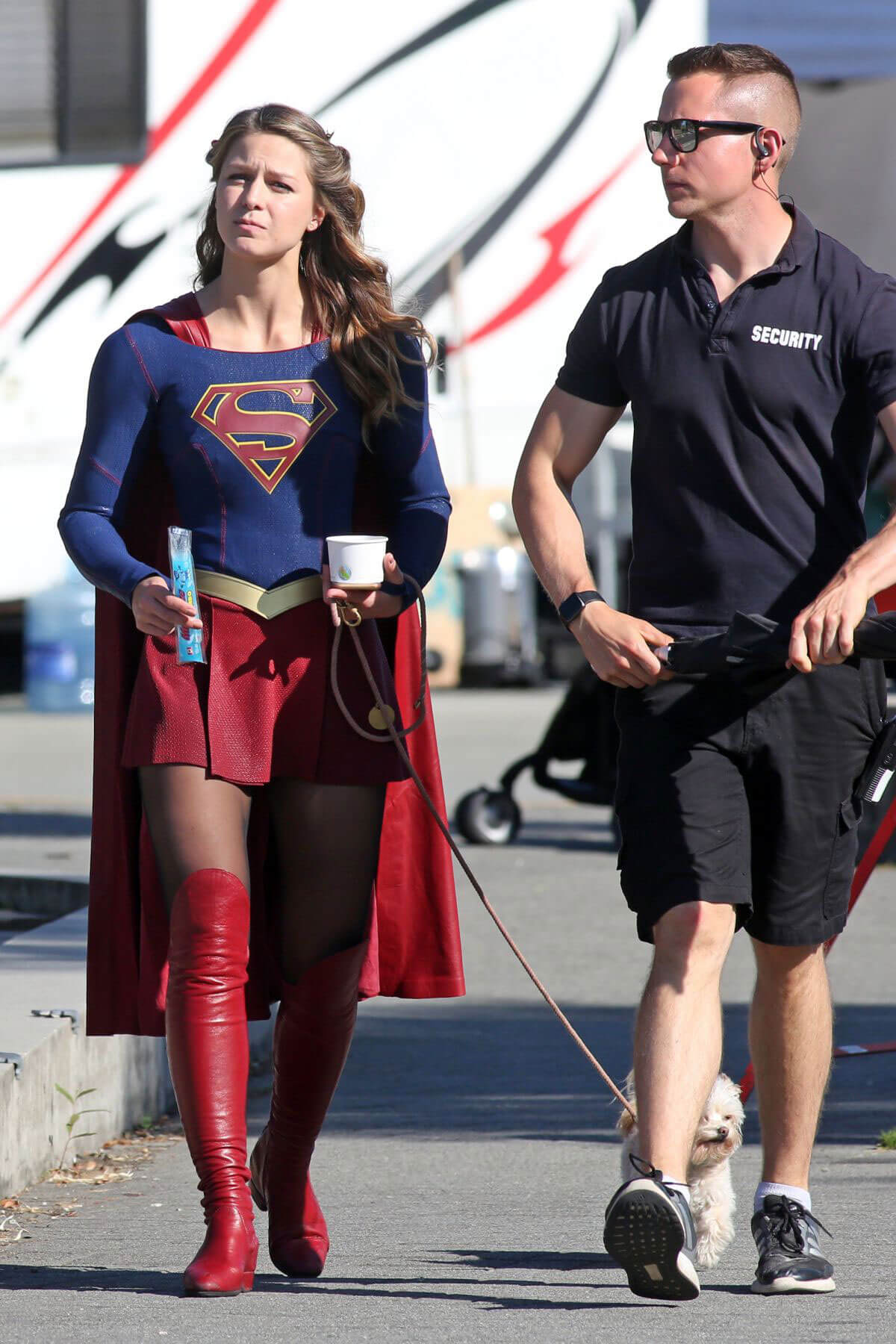 Melissa Benoist on the Set of Supergirl in Vancouver