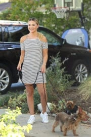 Olivia Holt Walking Her Dogs in Los Angeles