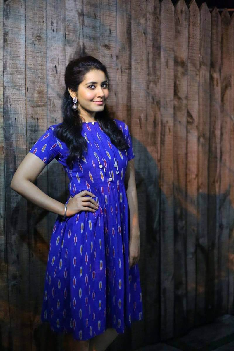 Rashi Khanna Hot Photoshoot in Royal Blue Dress Photos