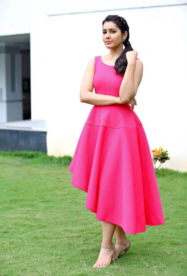 Rashi Khanna Hot Photoshoot Stills in Pink Sleeveless Top