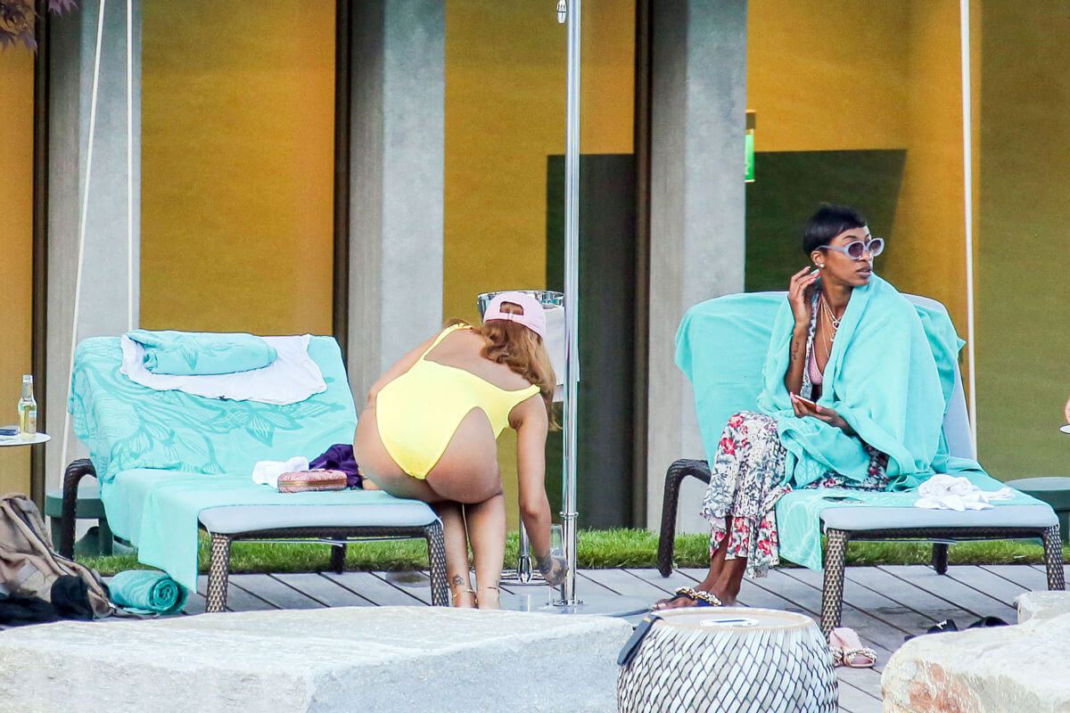 Rihanna in Swimsuit at Pool at her Hotel in Zurich