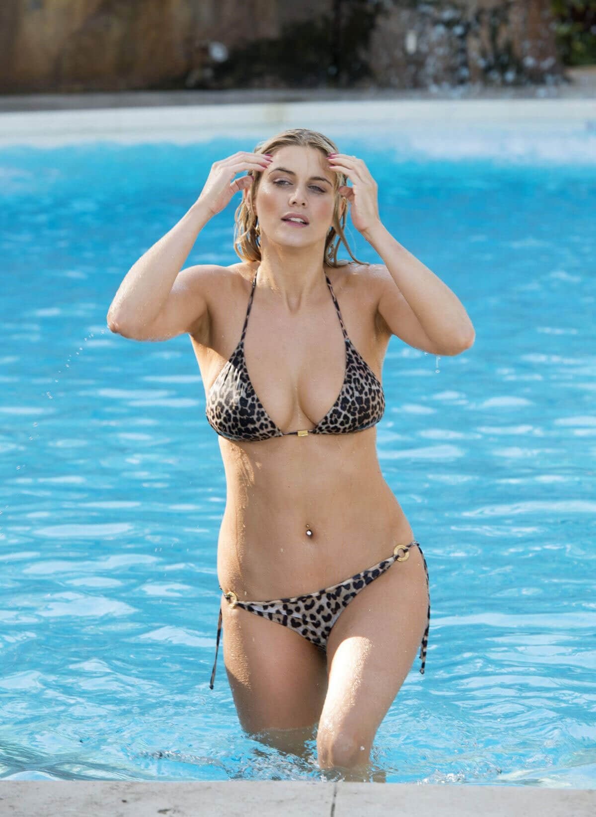 Ashley James and Olivia Cox in Bikini at a pool in Marbella Photos