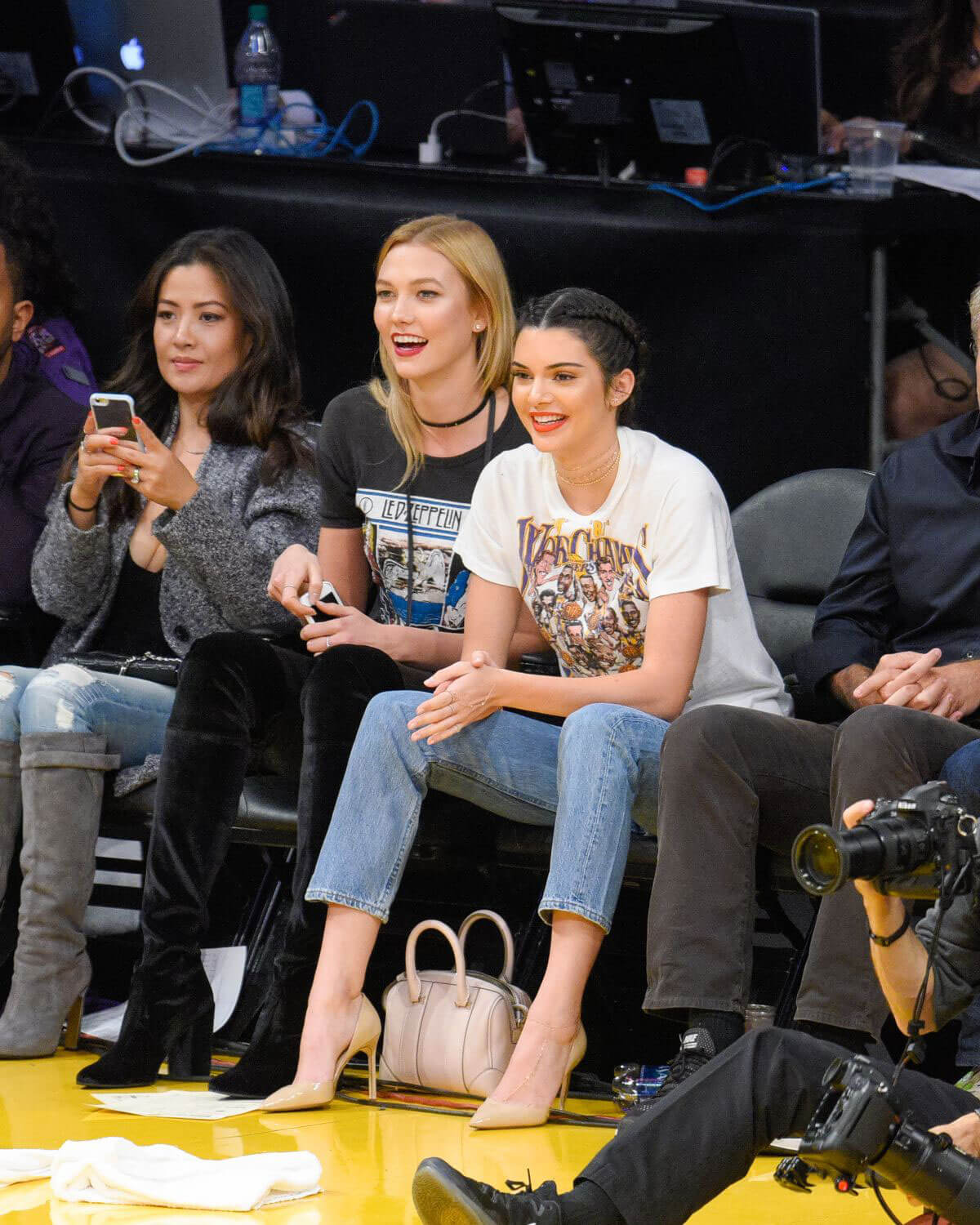Kendall Jenner and Karlie Kloss Stills at Houston Rockets vs Los Angeles Lakers Game in Los Angeles