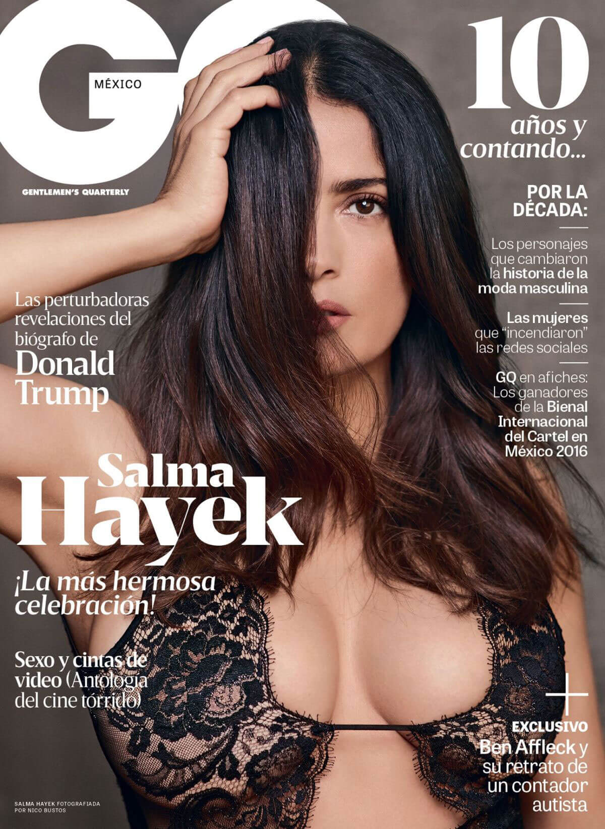 Salma Hayek Images on the Cover of GQ Magazine, Mexico November 2016