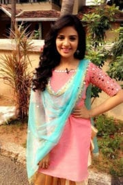 Srimukhi in Salmon Pink Colour Top Photos