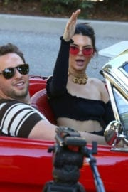 Kendall Jenner Driving Her Mustang Out in Los Angeles Stills Images