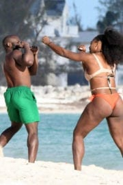 Serena Williams Stills Images in Bikini at the Beach in the Bahamas