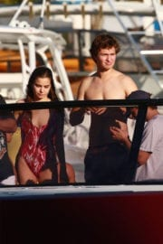 Violetta Komyshan and Ansel Elgort on a Boat Ride in Miami