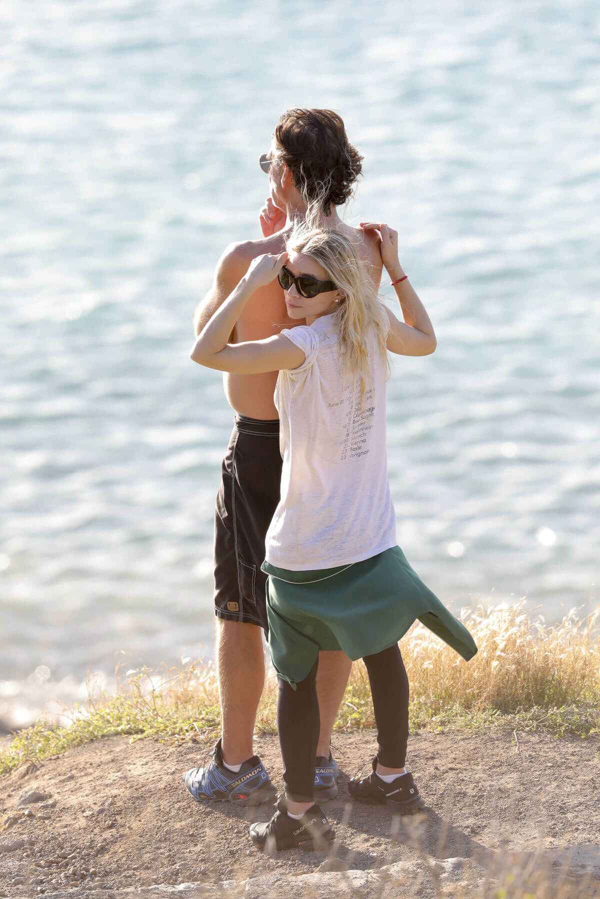 Ashley Olsen and Boyfriend on the Beach in St. Barth Stills Images