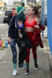 Bella and Dani Thorne in Tank Tops Leaves a Workout in Los Angeles