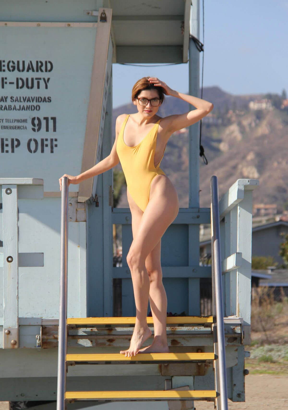 Blanca Blanco in Swimsuit Photoshoot at a Beach in Malibu