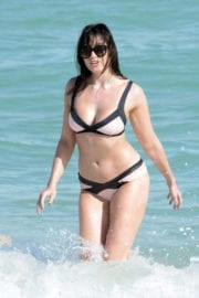 Daisy Lowe Stills in Bikini at a Beach in Miami Photos