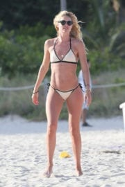 Doutzen Kroes in Bikini Plays Beach Soccer at a Beach in Miami