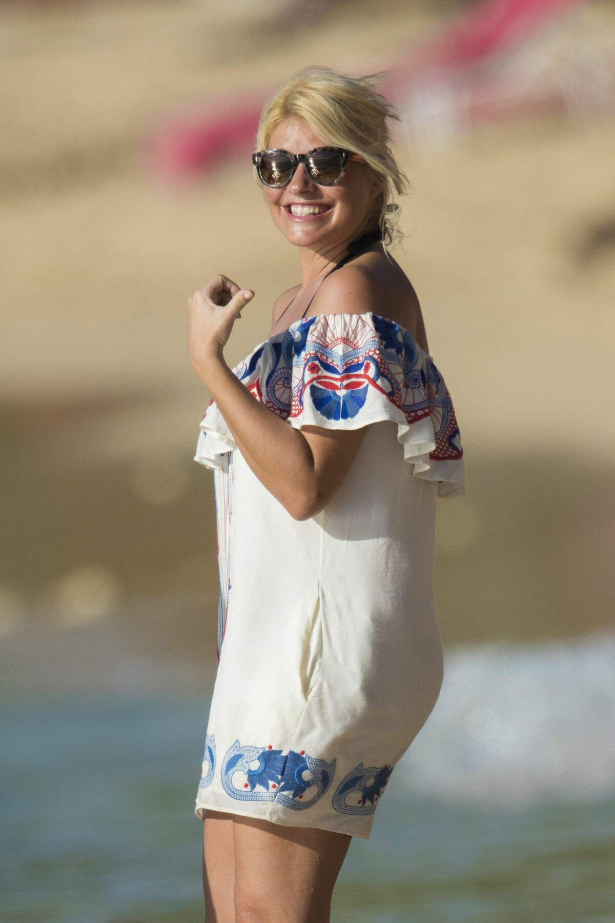 Holly Willoughby Stills at a Beach in Caribbean