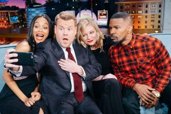 Kirsten Dunst, Zoe Saldana And Jamie Foxx at Late Late Show With James Corden In Los Angeles