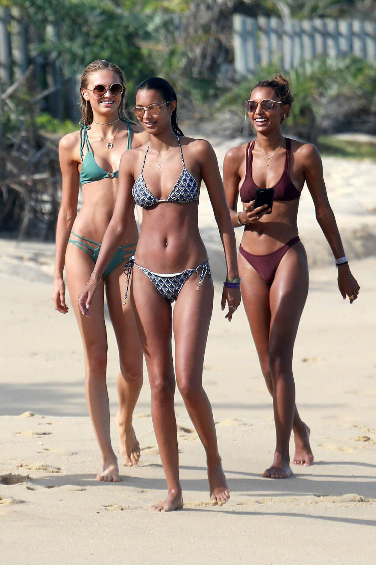 Lais Ribeiro, Romee Strijd and Jasmine Tookes in Bikinis at a Beach in Trancoso