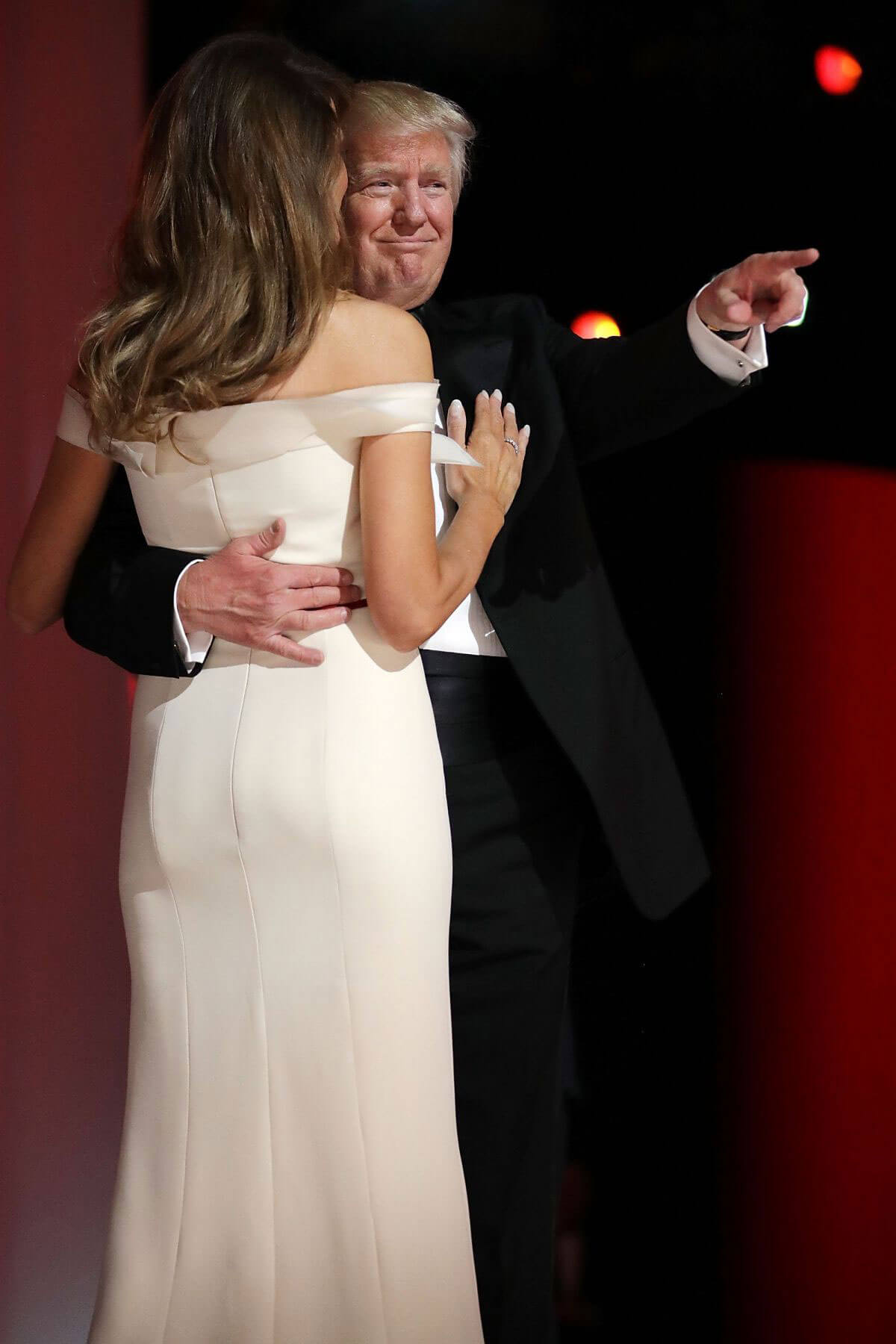 Melania and Donald Trump at Inauguration Ball at National Building Museum in Washington