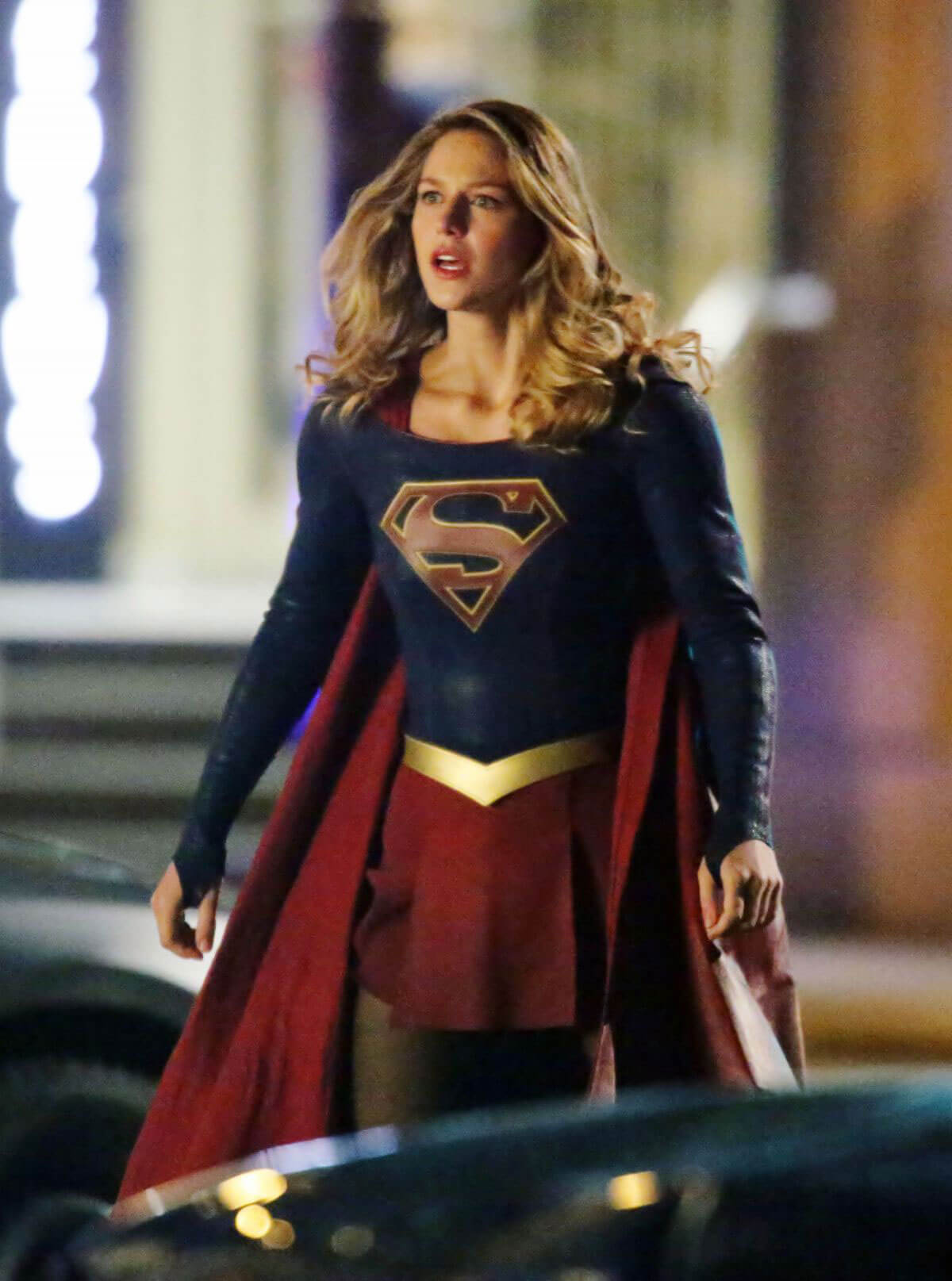 Melissa Benoist on the Evening Set of 'Supergirl' in Vancouver