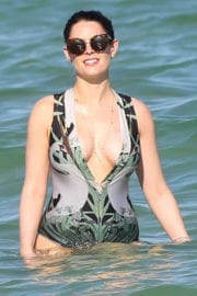 Susie Amy Stills in Swimsuit at a Beach in Miami Photos