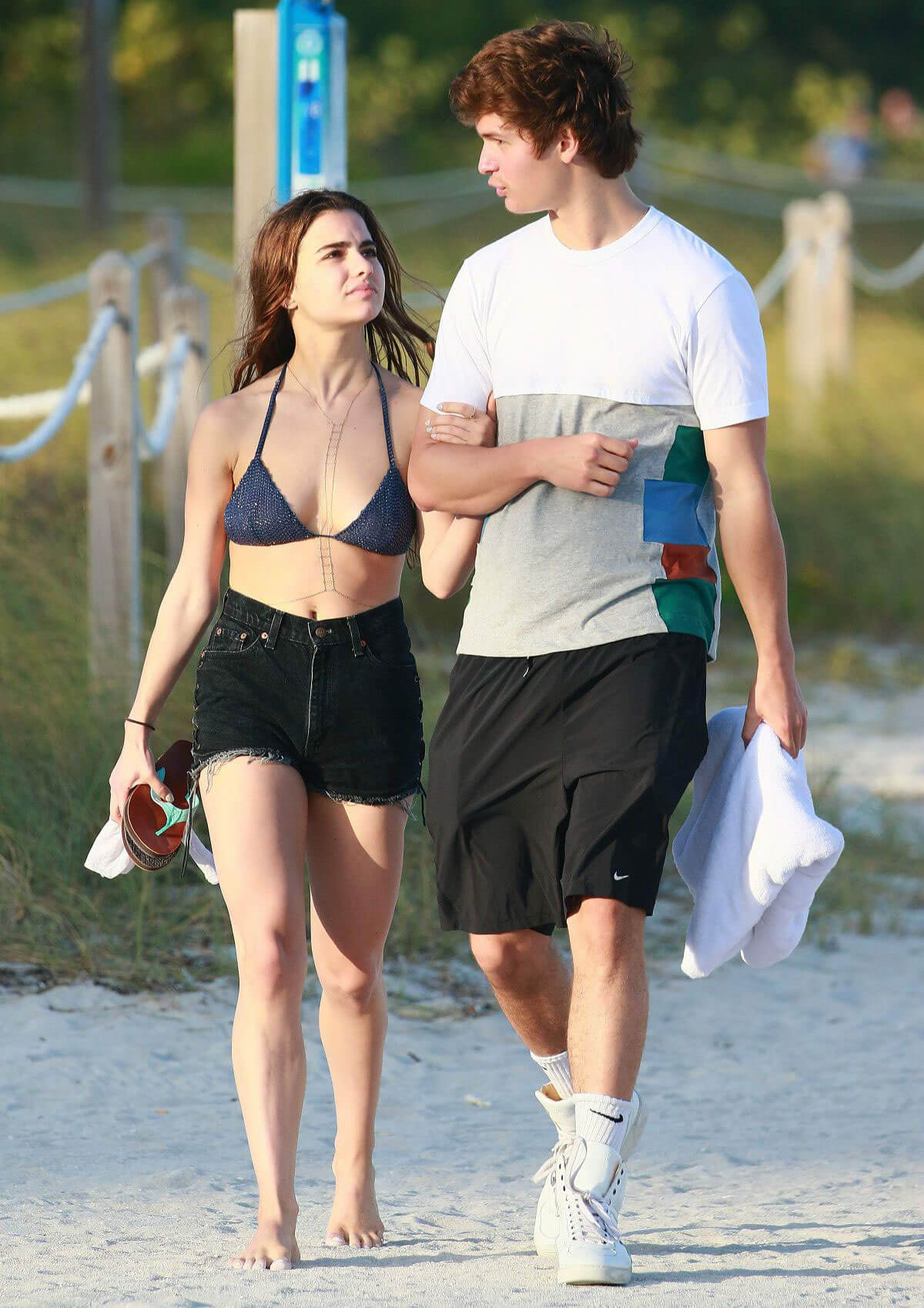 Violetta Komyshan in Bikini Top and Ansel Elgort Out in Miami Beach Images