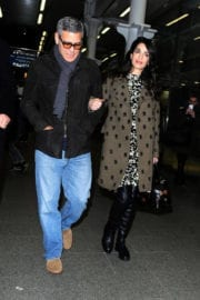 Amal Clooney and George Clooney at St Pancras Eurostar in London