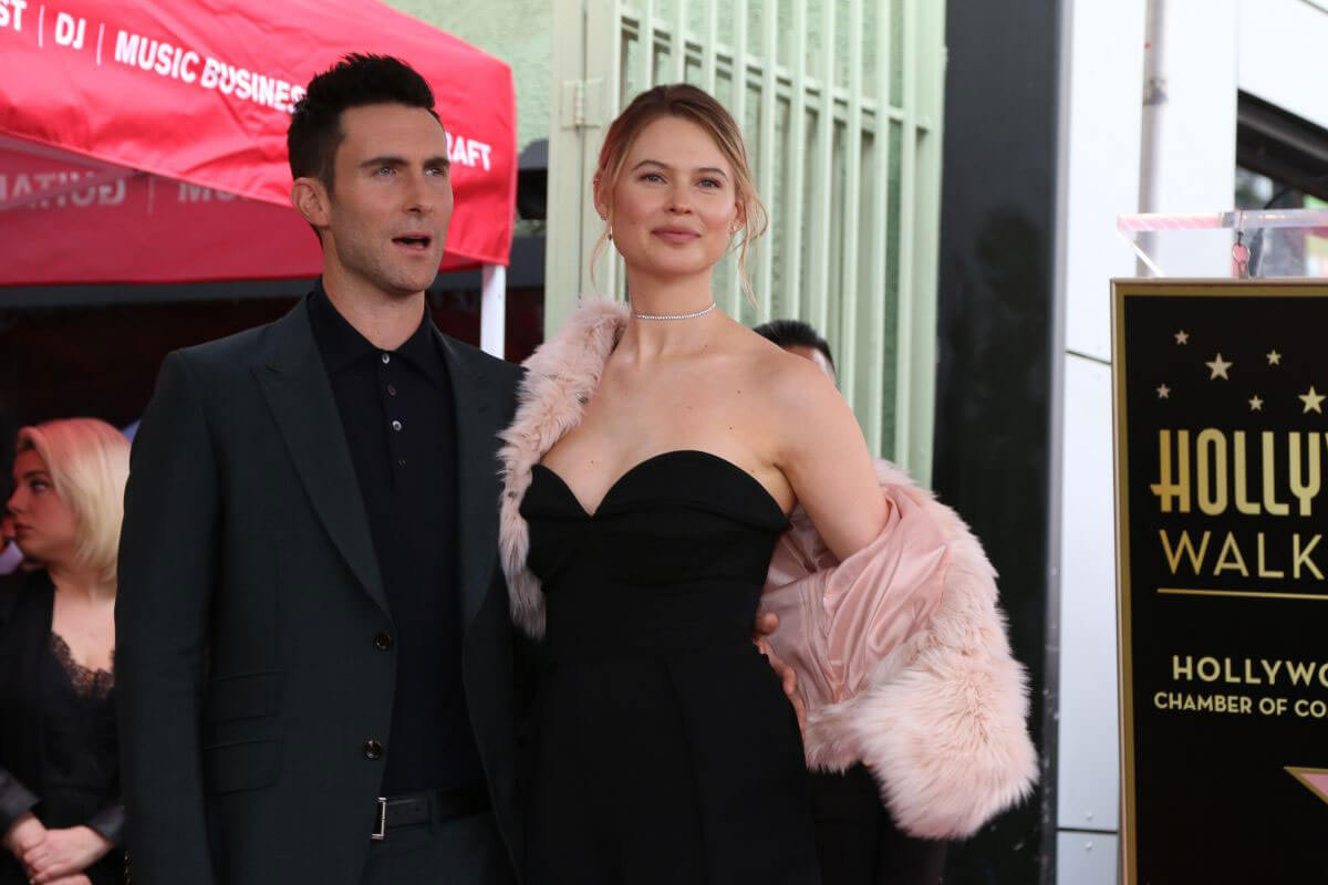 Behati Prinsloo and Adam Levine at Adam's Star on the Hollywood Walk
