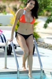 Chloe Goodman in Bikini at a Pool in Tenerife