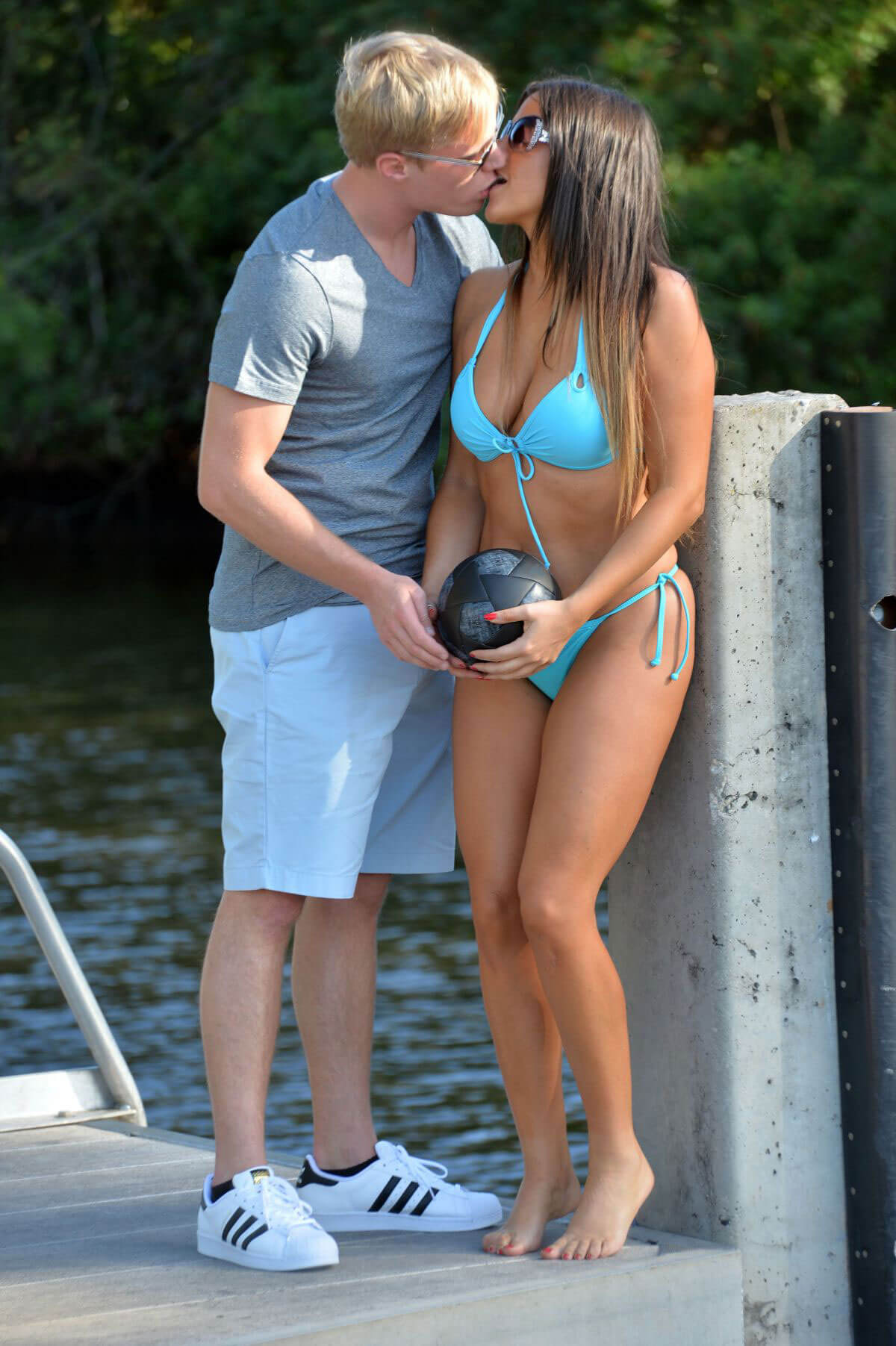 Claudia Romani and Christopher Johns Kissing at a Beach in Miami