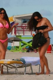 Elisa Scheffler and Claudia Romani in Bikinis at a Beach in Miami