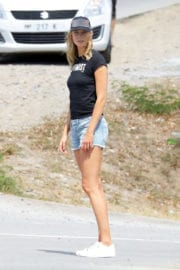 Karlie Kloss in Denim Shorts Out in St. Barts