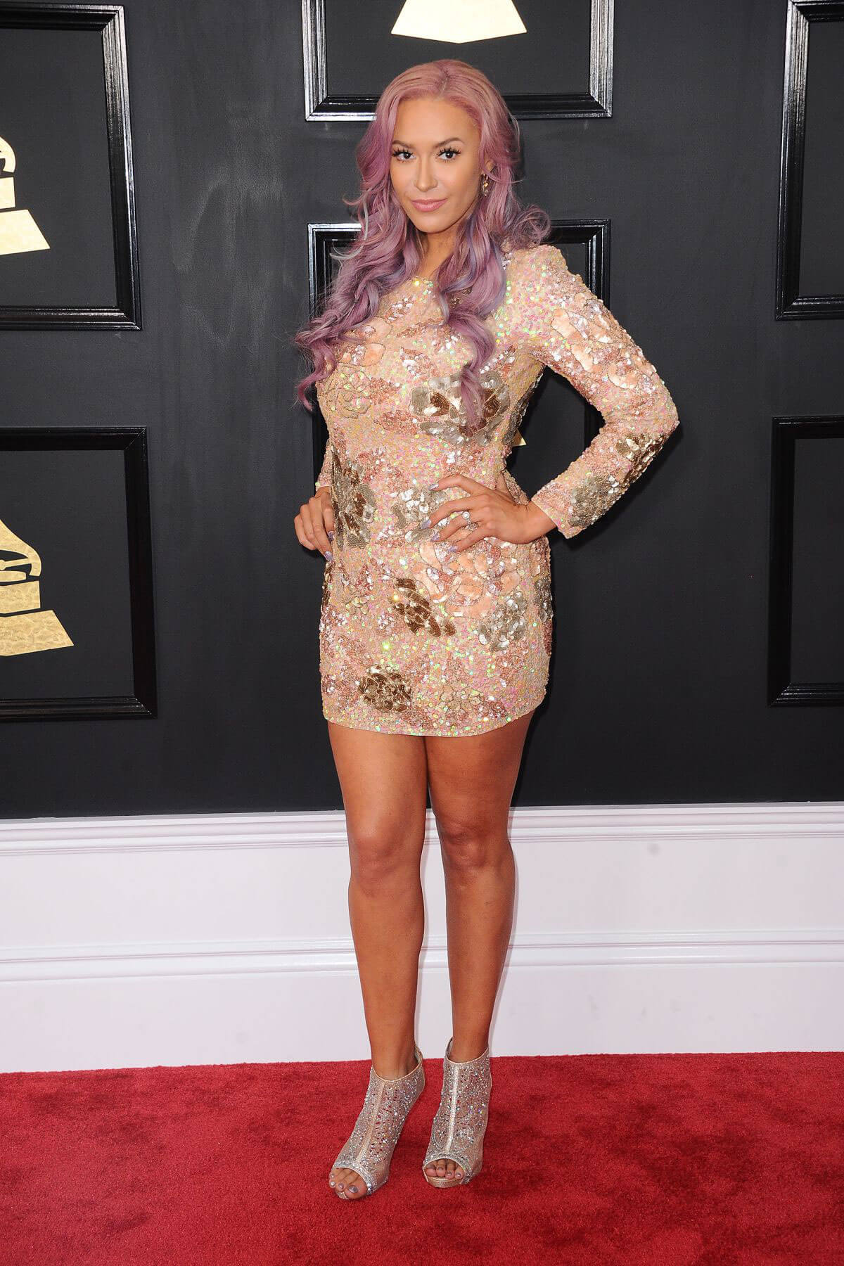 Kaya Jones at 59th Annual Grammy Awards in Los Angeles