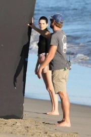 Kendall Jenner on the Set of a Photoshoot at a Beach in Malibu