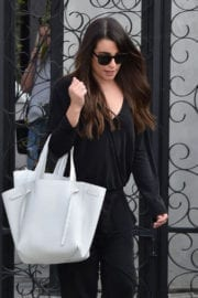 Lea Michele Arrives at a Hair Salon in West Hollywood