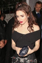 Lily Collins Stills at Charles Finch and Chanel Pre Oscar Awards Dinner in Beverly Hills