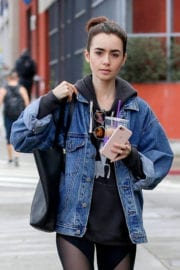 Lily Collins Stills Leaves a Gym in Los Angeles