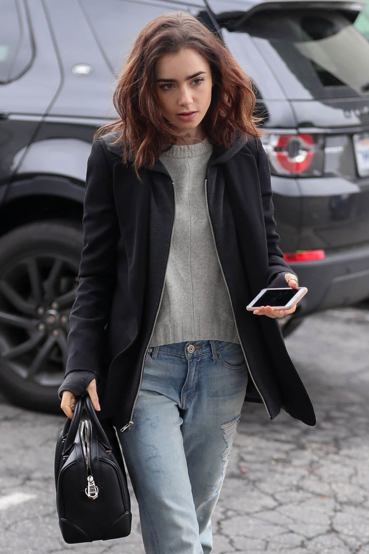 Lily Collins Stills Out for Lunch in Los Angeles