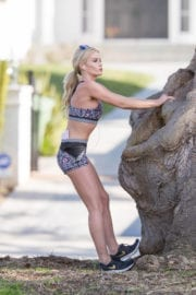 Liv Jaege Stills Working Out in Brentwood