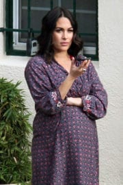 Pregnant Brie Bella Stills at a Beauty Parlor in Los Angeles