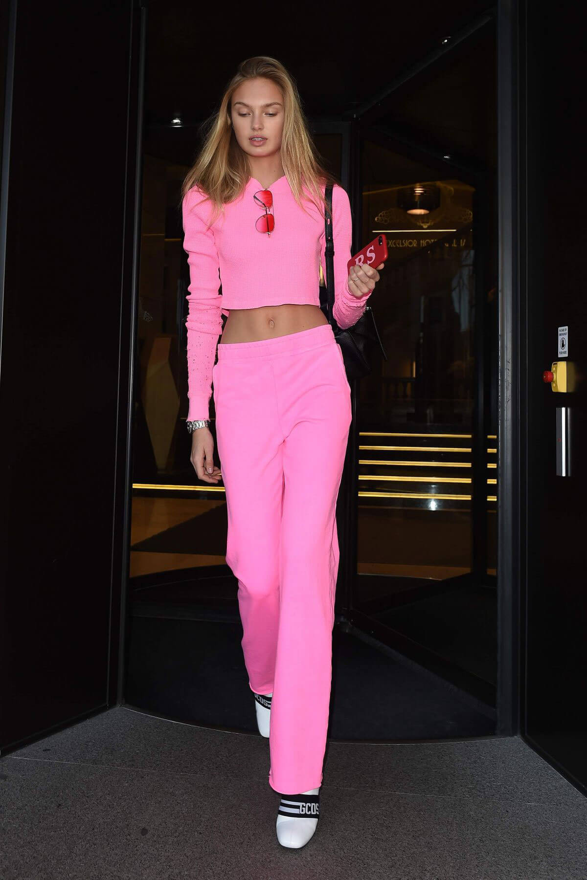 Romee Strijd Stills Leaves Her Hotel in Milan