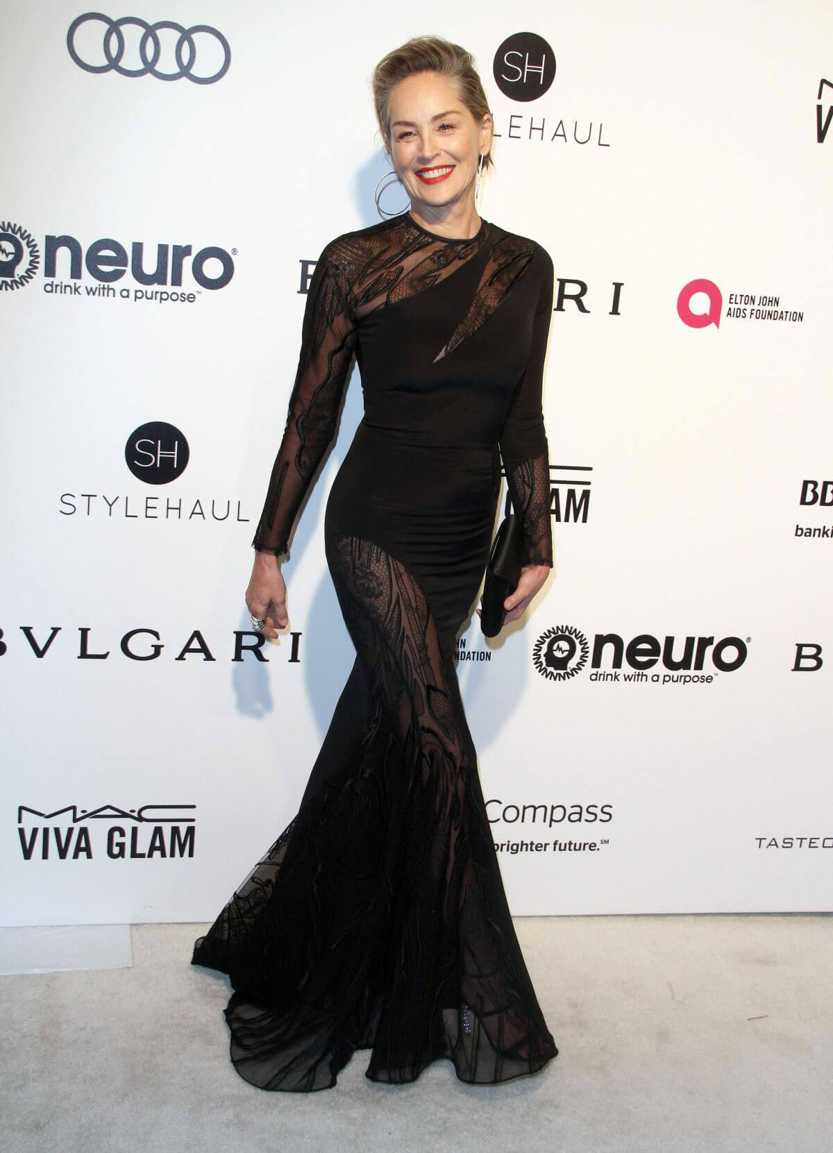 Sharon Stone Stills at 25th Annual Elton John Aids Foundation's Oscar Viewing Party