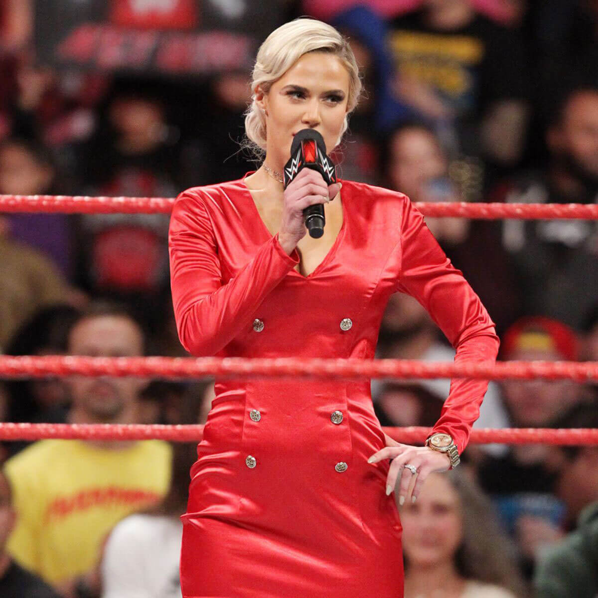 WWE RAW - Lana Photos in Red One Piece Dress